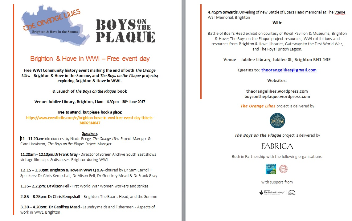 Boys on the plaque event poster