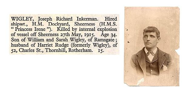 A photo of Joseph Wigley, one of the victims of the explosion, alongside a record of his death.