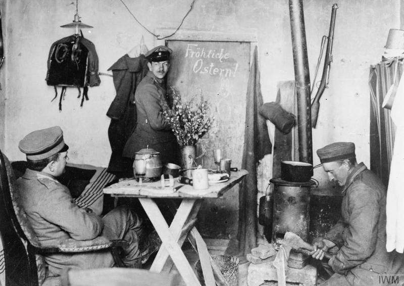 German troops celebrating Easter in their dugout in the Champagne, 8 April 1917