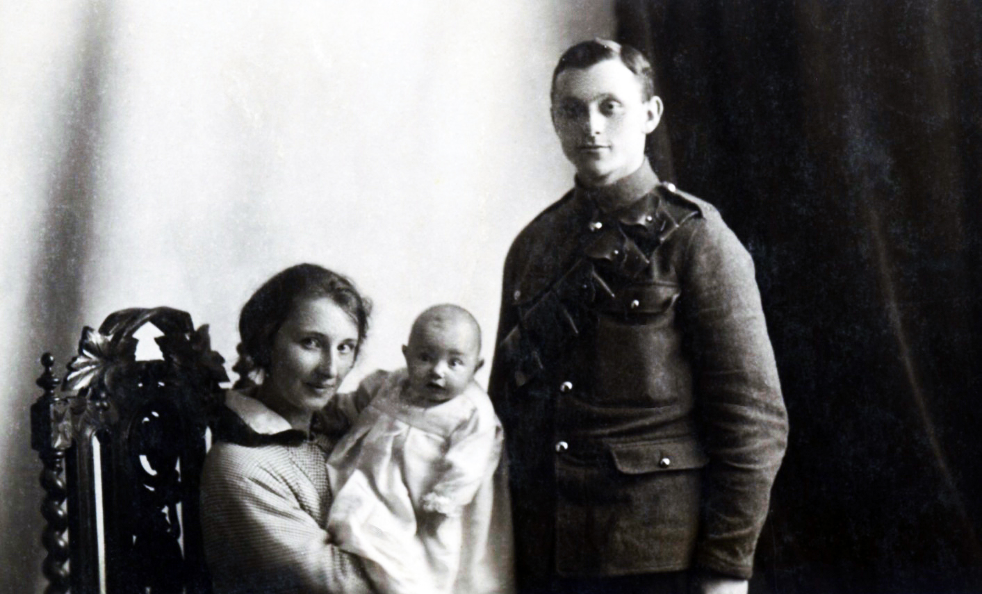 A photograph of a British soldier and his wife and five-month-old baby