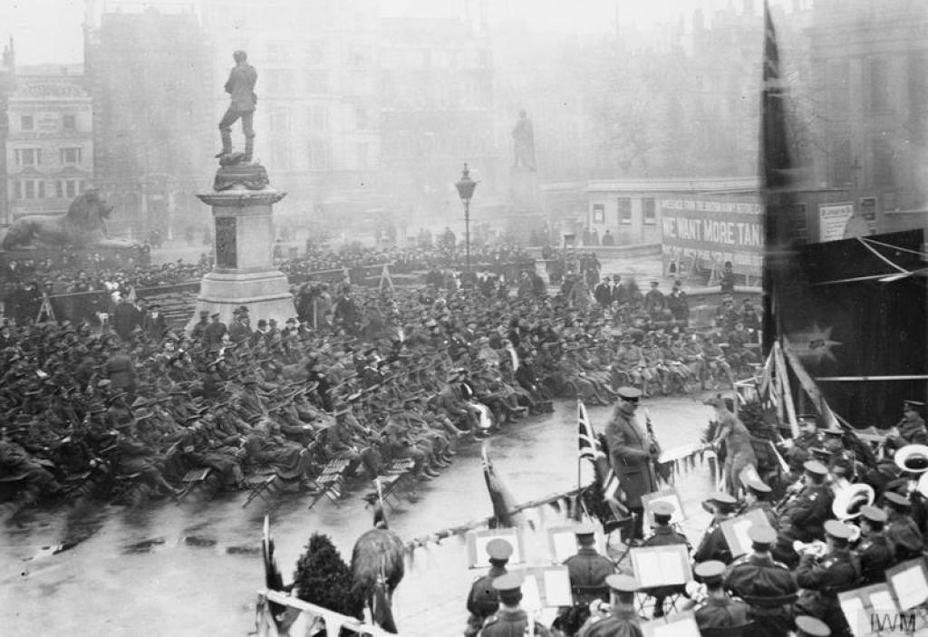 The open air cinema in Trafalgar Square opened in December 1917.