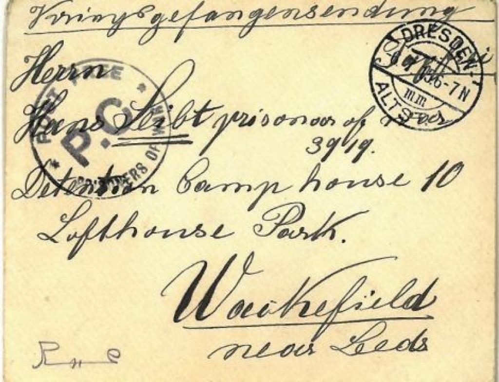 Envelope of a letter sent to civilian internee in 1915