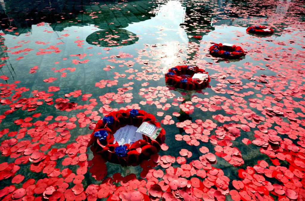 Floating poppy wreaths