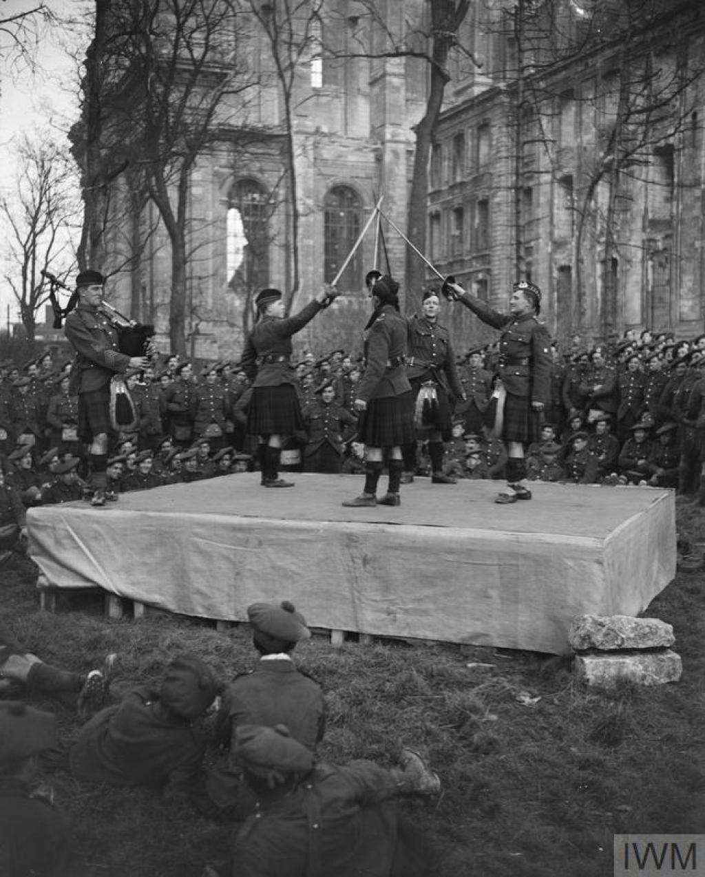 The Gordon Highlanders outside Arras Cathedral 24 January 1918