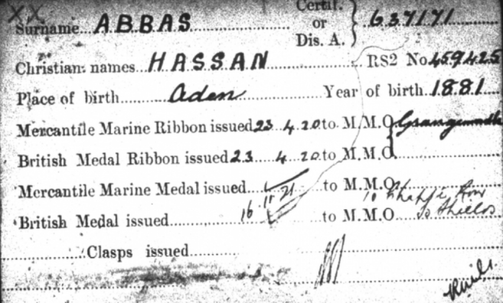 Medal card of Hassan Abbas (TNA ref: BT 351/1). Reproduced with permission of The National Archives.