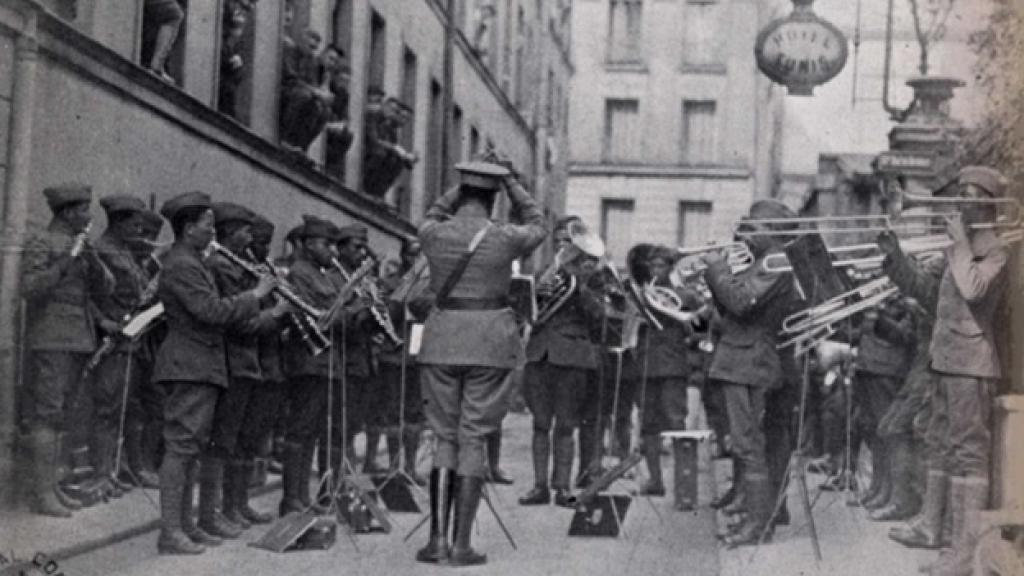 The 369th Infantry band in Paris. COL Goldenberg/New York National Guard