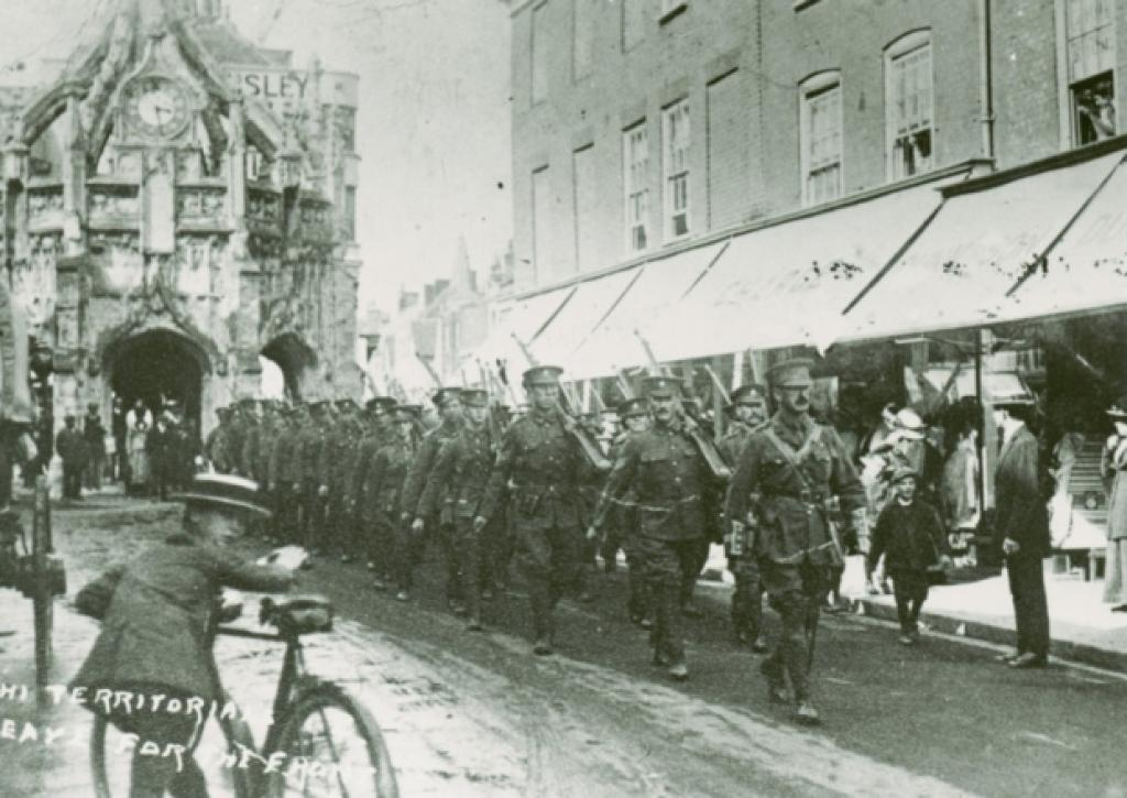 Territorials leaving Chichester for France. Reproduced with permission of West Sussex Record Office.