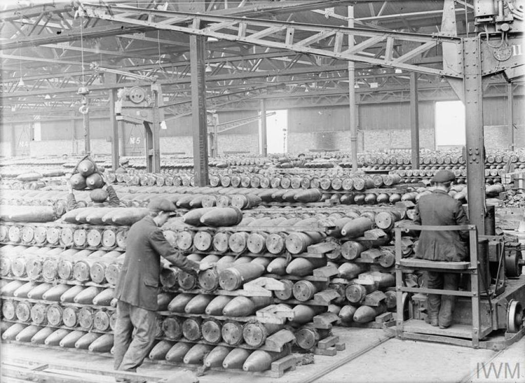 Belgian workers in the bond store of the National Projectile Factory at Birtley-Elisabethville, Co. Durham, 1918. © IWM (Q 27737)