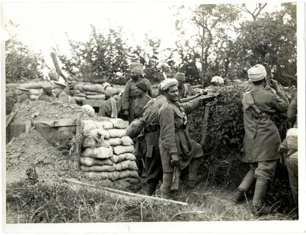 Indian infantry 58th Rifles in the trenches, Fauquissart, France. Girdwood Collection