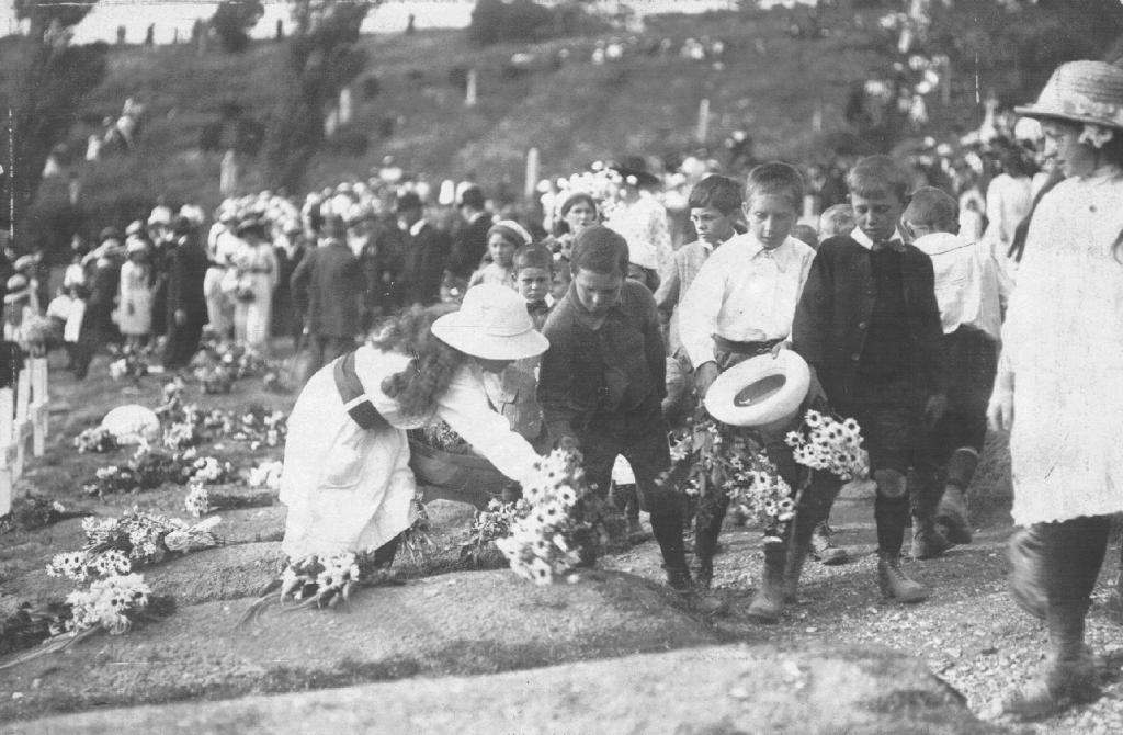 Children attending Canadian Flower Day, Shorncliffe Cemetery, Folkestone