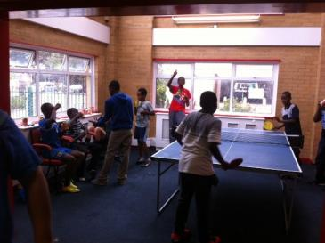 Billy Youth Project members playing table tennis
