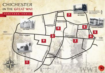 Map of Chichester during WW1