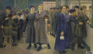 'Women's Canteen at Phoenix Works, Bradford', Flora Lion, 1918
