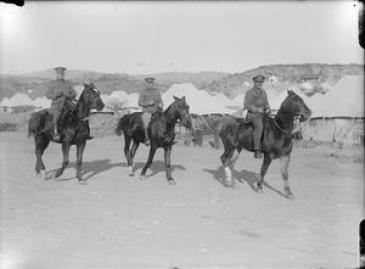 Major John Spencer-Churchill of the Queen's Own Oxfordshire Hussars (right) and his companions enjoying a horse ride near Salonika.  IWM (C) Q 13768