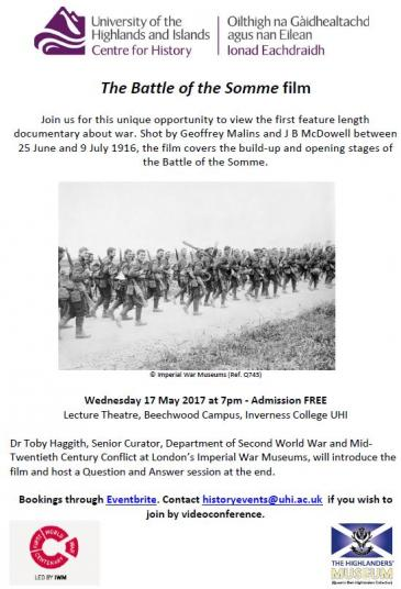 Highlands Somme film flyer