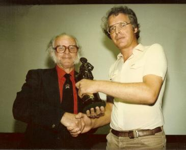 James Brazier presents WFA founder John Giles with a statuette of a WW1 Scottish soldier on 4th August 1984, the 70th anniversary of Britain's entry into World War One