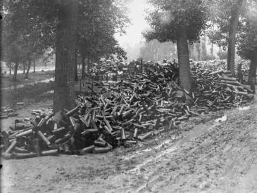 Battle of Albert. A dump of 18 pounder shell cases used in the bomdardment of Fricourt. © IWM (Q 113)