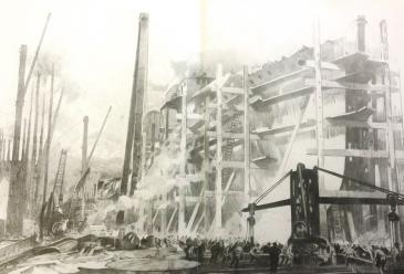 "'H.M.S. ""Spenser"" under construction, Woolston', by Fred Taylor. © Hampshire Cultural Trust and Archives"